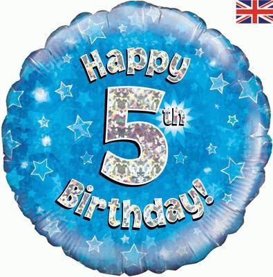 "18"" Blue 5th Birthday Balloon - Helium Filled"