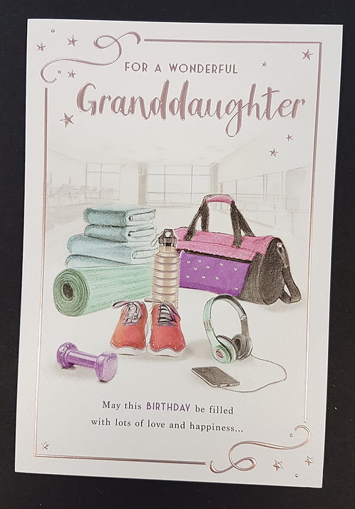 Granddaughter Birthday Greeting Card With Gym Equipment