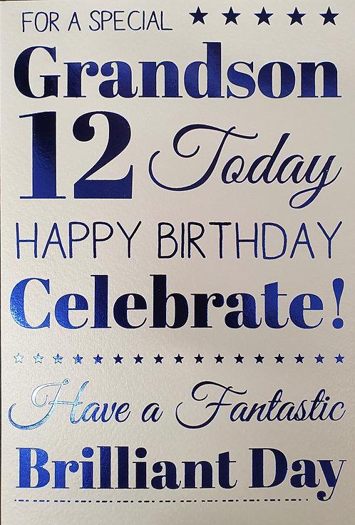 Grandson 12th Birthday Greeting Card