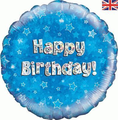 "18"" Blue Happy Birthday Balloon - Helium Filled"