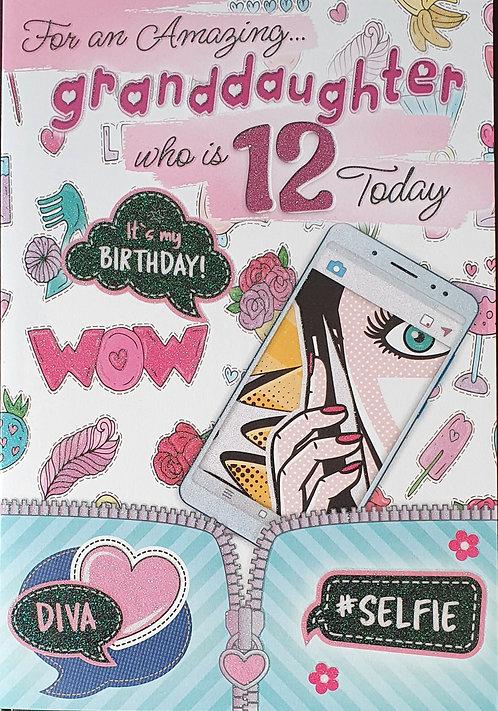Granddaughter 12th Birthday Card