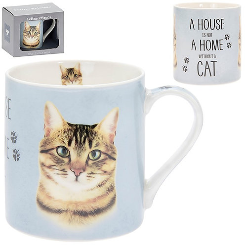 House and Home Fine China Mug - Tabby Cat