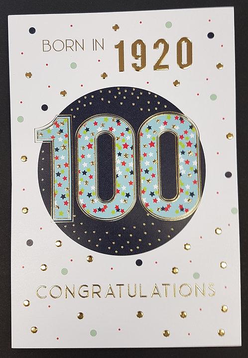 Born in 1920 - Male Age 100 Tri-Fold Card