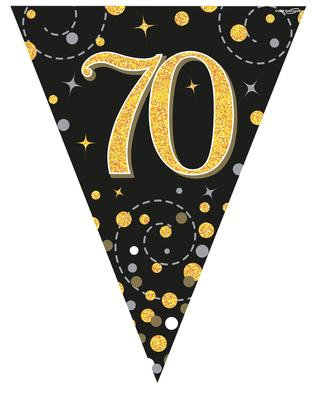 Black And Gold Happy 70th Birthday Bunting