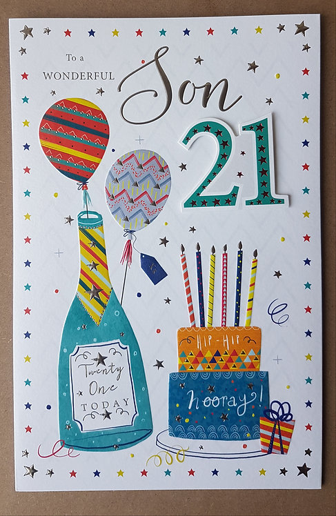 Son 21st Birthday Greeting Card With Bottles