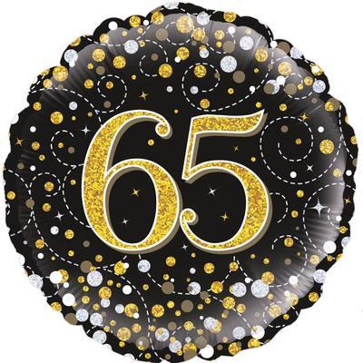 "18"" Black & Gold 65th Birthday Balloon - Helium Filled"