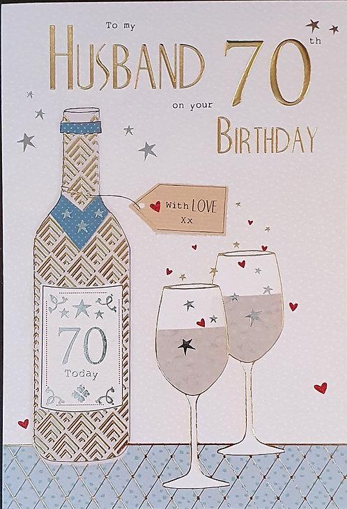Husband 70th Birthday Card