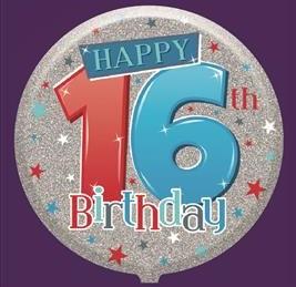 Male 16th Birthday Balloon - Helium Filled