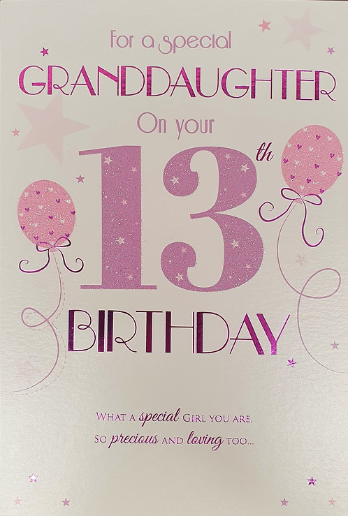 Granddaughter 13th Birthday Greeting Card Front