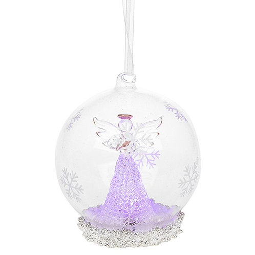 Glass Art LED Bauble - Gold Angel (Large)