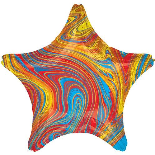 "18"" Marblez Colourful Star -  Anagram Balloon - Helium Filled"
