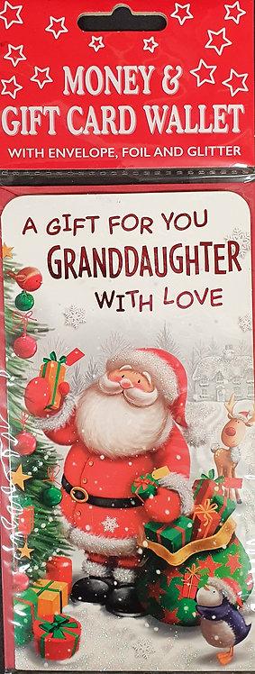 Christmas Money Wallet - Granddaughter