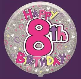 Female 8th Birthday Balloon - Helium Filled