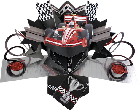 Racing Car Pop Up Greeting Card
