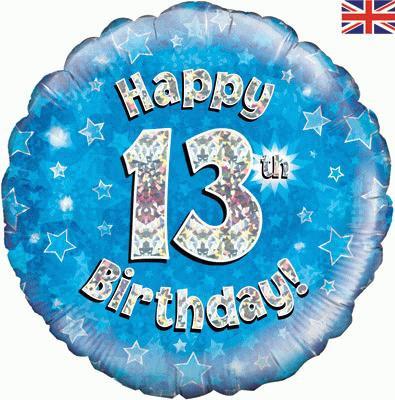 "18"" Blue 13th Birthday Balloon - Helium Filled"
