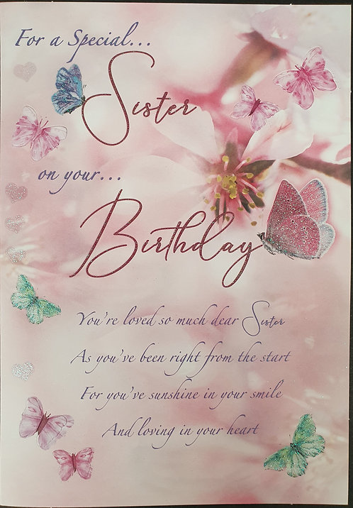 Sister Birthday Card With Butterfly Die Cut Pop Outs