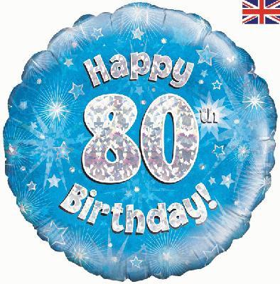 "18"" Blue 80th Birthday Balloon - Helium Filled"