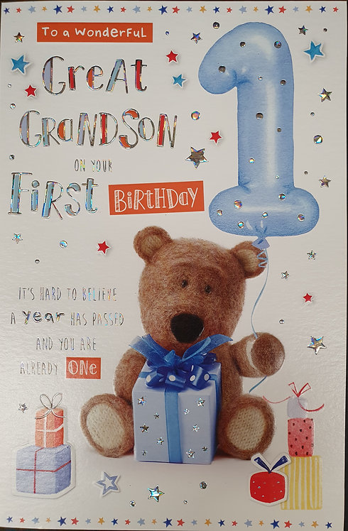 Great Grandson First Birthday Greeting Card Barley Bear