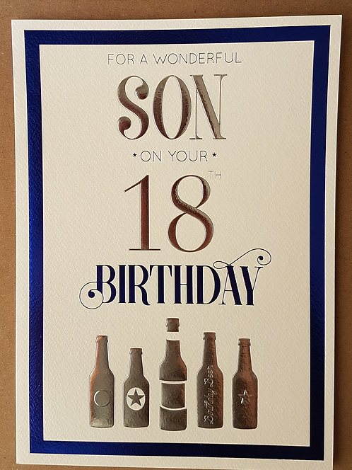 Son 18th Birthday Greeting Card With Bottles