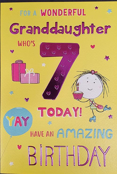 Granddaughter 7th Birthday Greeting Card
