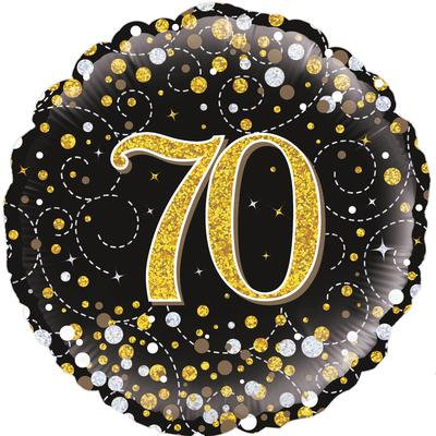 "18"" Black & Gold 70th Birthday Balloon - Helium Filled"