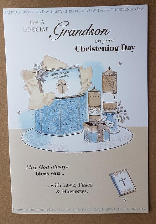 Christening Grandson - Greeting Card