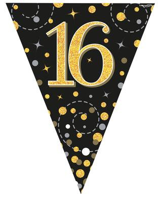 Party Bunting 16th Birthday Black & Gold Holographic