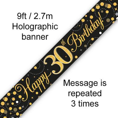 Black And Gold 30th Happy Birthday Party Banner