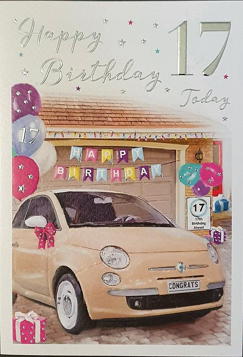 17th Female Birthday Card of New Car