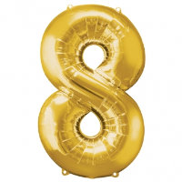 large gold number 8 foil helium balloon
