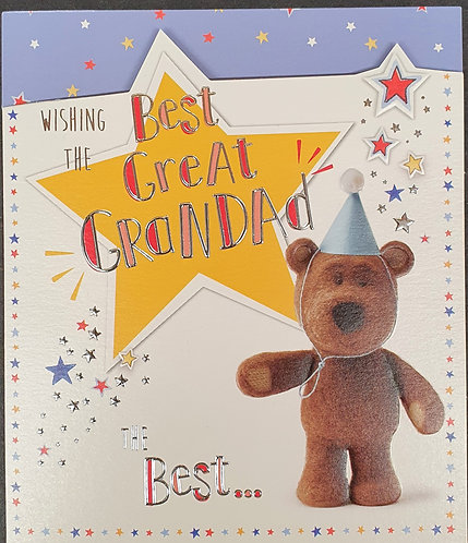 Great Grandad Birthday Greeting Card Barley Bear