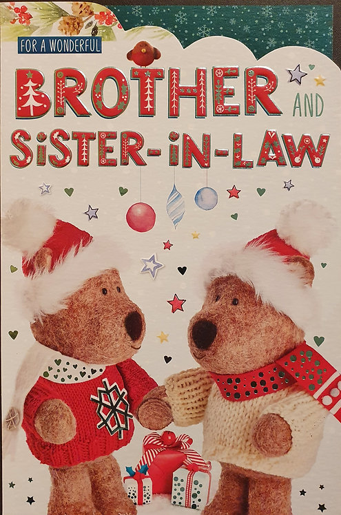 Brother and Sister-in-Law Christmas Greeting Card - Barley Bear