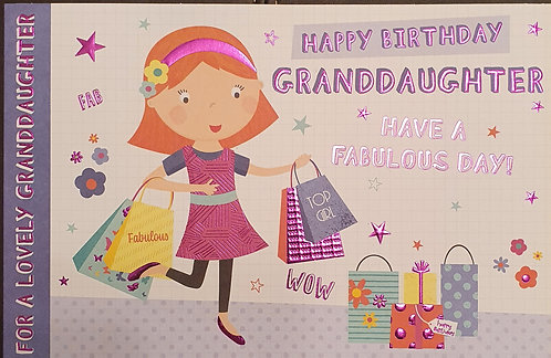 Juvenile Granddaughter Birthday Greeting Card