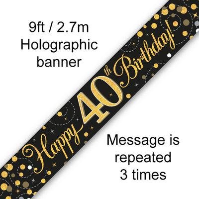 Black And Gold 40th Happy Birthday Party Banner