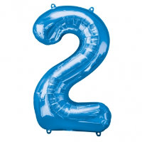 large blue number 2 foil helium balloon