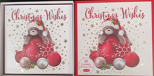 Multipack Box of 10 Luxury Christmas Cards - Baubles & Bear