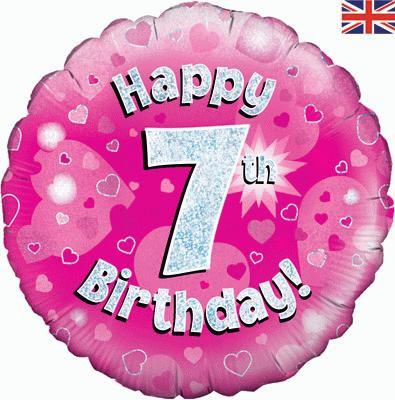 "18"" Pink 7th Birthday Balloon - Helium Filled"