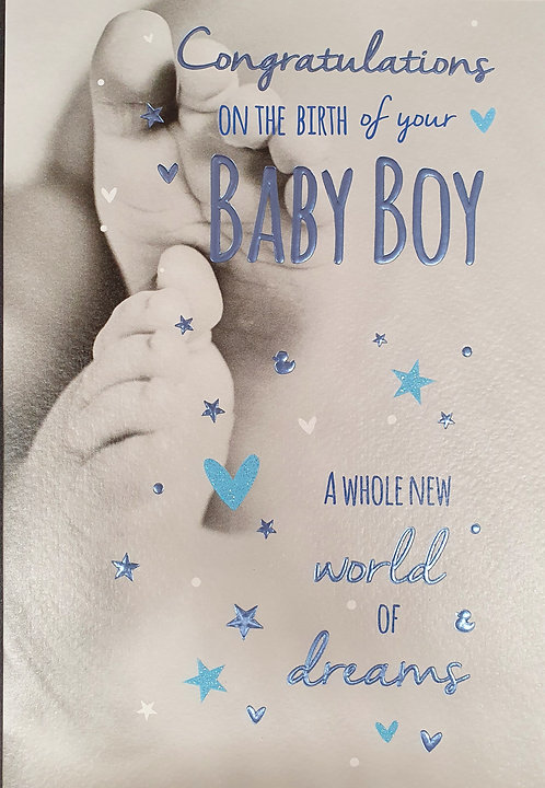 Birth Of Your New Baby Boy Greeting Card