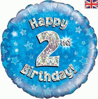 "18"" Blue 2nd Birthday Balloon - Helium Filled"