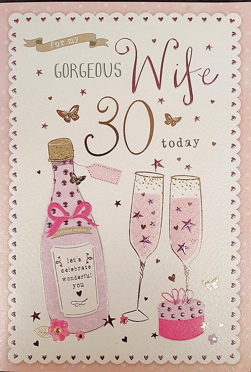 Wife 30th Birthday Greeting Card