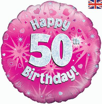 "18"" Pink 50th Birthday Balloon - Helium Filled"