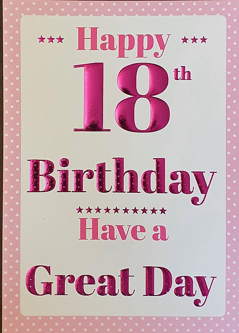 18th Female Birthday Card