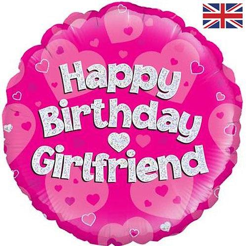 """18"""" Pink Happy Birthday Girlfriend Balloon - Helium Filled"""
