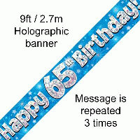 Blue 65th Happy Birthday Party Banner