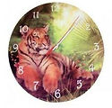 toby tiger glass wall clock