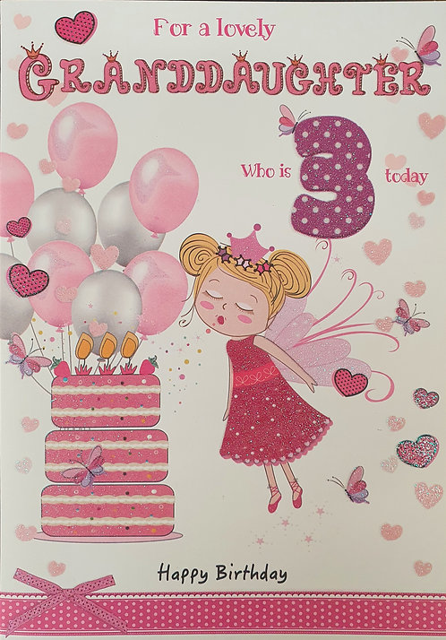 Granddaughter 3rd Birthday Greeting Card Front