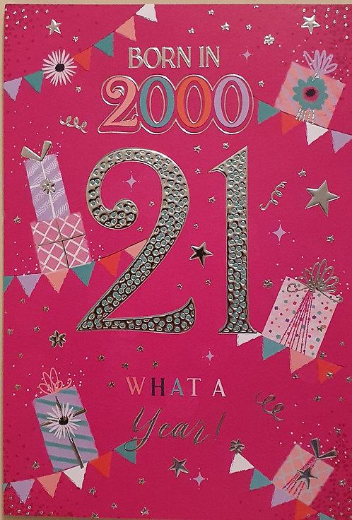 Born in 2000 - Female Age 21 Tri-Fold Birthday Greeting Card