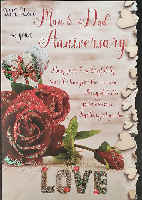 Mum & Dad Anniversary Greeting Card Front