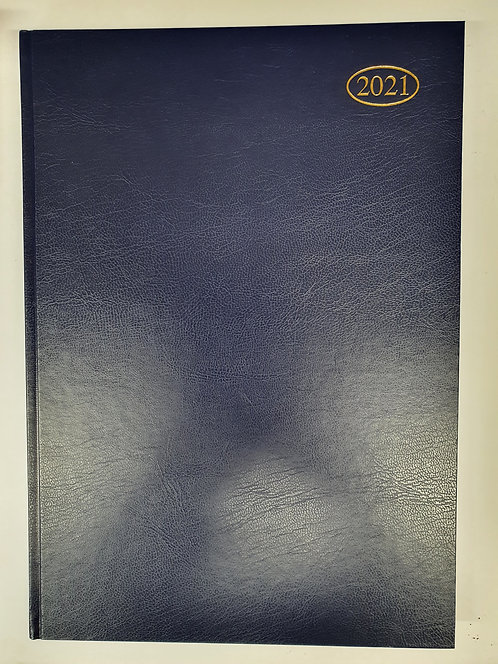 Blue 2021 A4 Diary with Leather Effect Cover
