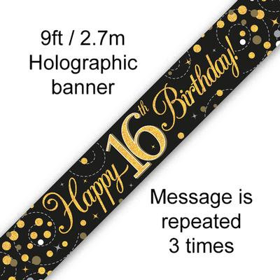 Black And Gold 16th Happy Birthday Party Banner